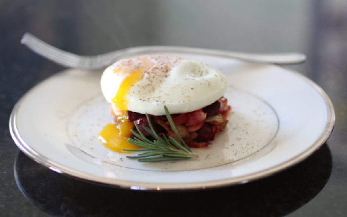 Root Vegetable Hash And Poached Egg