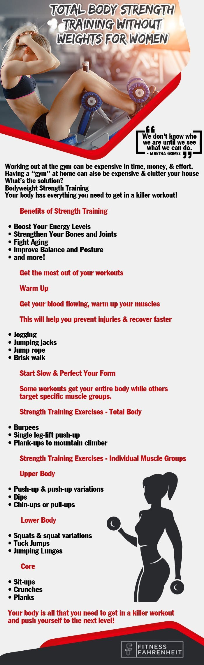strength training for women at home tips displayed on an infographic.
