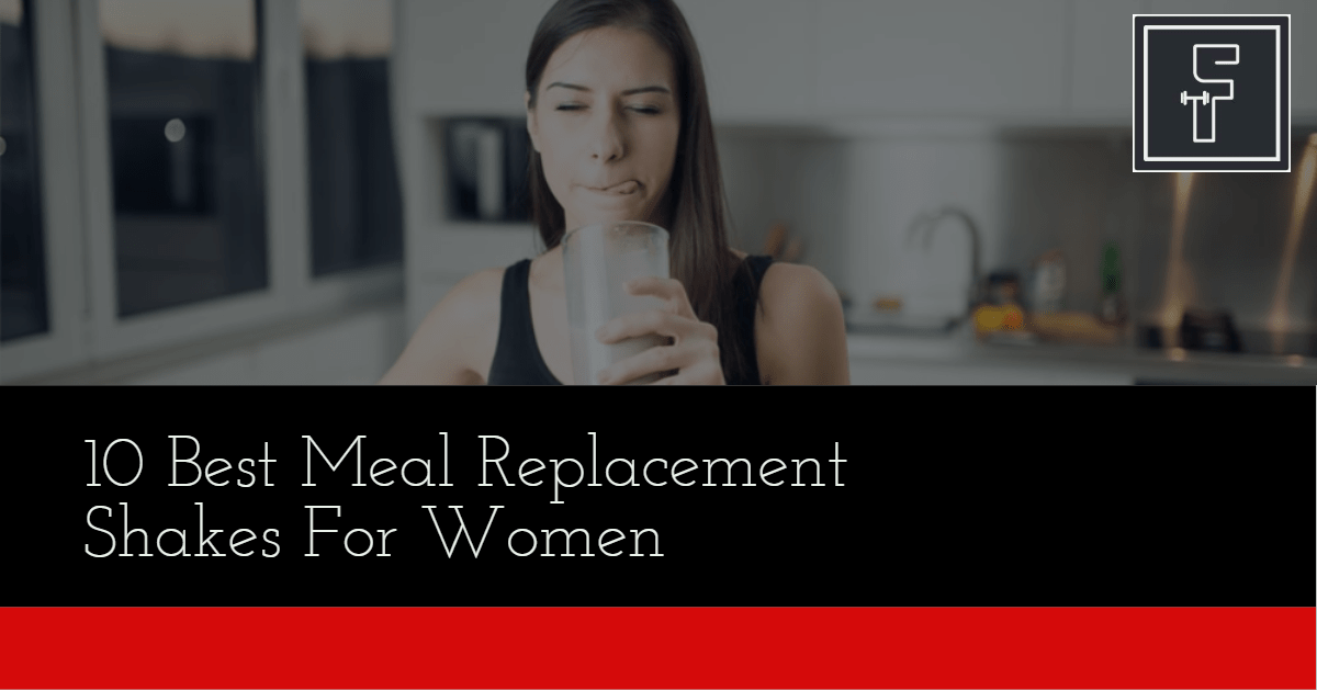 Best Meal Replacement Shakes For Women Banner - woman in sports clothing drinking shake and licking her lips