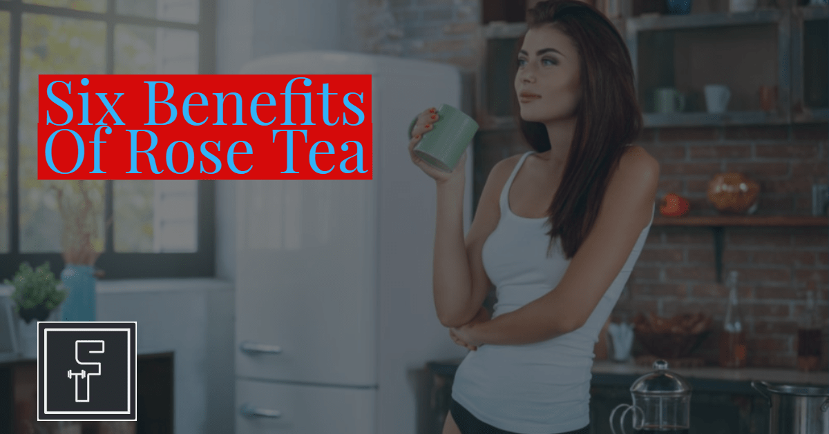 Six Benefits of Rose Tea Banner - Attractive Fit Woman Drinking Tea